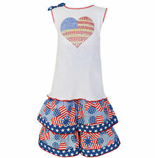 AnnLoren Girls Boutqiue Patriotic Tunic and Capri 2 Piece Set sz 12/18 mo-9/10