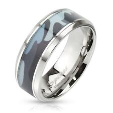 coolbodyart Stainless Steel Ring Silver 8mm Wide Ring with Blue Camouflage Inlay