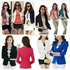 New Lady Women Slim Solid Suit Blazer Jacket Coat Casual One Button Tops Outwear