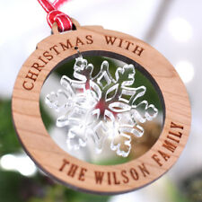 Family Wooden Christmas Snowflake decoration, Christmas Bauble Gift