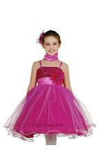 New Fuchsia Hot Pink  Sequined Flower Girls Dress Party Pageant Christmas 106C