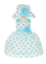 New Baby Girls White & Aqua Polka Dot Dress S-XL Wedding Pageant Easter 1002C