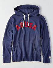 New Mens American Eagle Outfitters Navy Blue AE USA Applique Hoodie Med Large XL