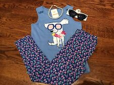 Gymboree Girls Beach Life Is Ruff Tank, Floral Leggings Sunglasses & Necklace G3