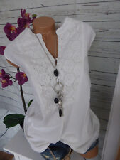 Joe Browns Tunic Top Tunic Size 48 White with Lace (260) NEW