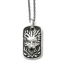 Stainless Steel Lion Dog Tag Pendant Necklaces - 48x21.26mm Cable