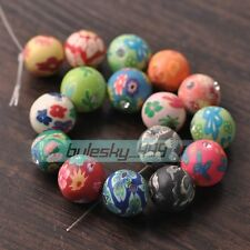 Mixed 15mm Round with Rhinestones Clay Polymer Fimo Charms Loose Beads Wholesale