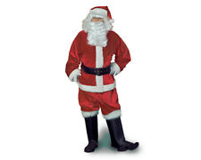 VELVET FULLY LINED SANTA CLAUS CHRISTMAS XMAS RED ADULT MEN COSTUME SUIT OUTFIT