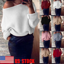 US Womens Off Shoulder Knitted Sweater Baggy Loose Sweater Pullover Jumpers Tops