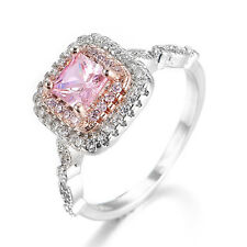 Lovely Square Pink Gems Crystal Rhinstone Filled Women Lady Stunning Ring UP