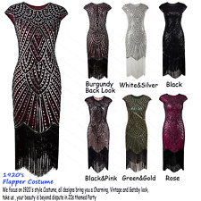 Women 1920s Flapper Costume Gatsby Party Long Evening Fromal Prom Fringed Dress