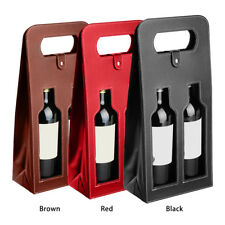 Red Wine Carrier Gift Packing Box Double Bottles Leather Wine Bag Christmas Gift