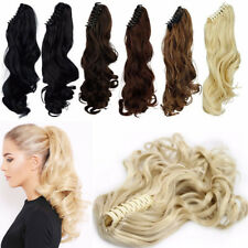Mega Thick As Human Jaw Claw Ponytail Clip In Hair Extensions Pony Tail Brown P2