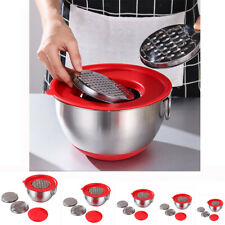 Stainless Steel Mixing Bowl with Grater Christmas DIY Cake Kitchen Food Bowl