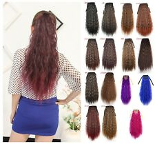 Long Straight Fluffy Yaki Ponytail Wrap On Clip-in Hair Extensions Woman C23