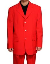 New Mens 3 Button SB Red Dress Suit Size 52L 52 L Long Single Breasted Style