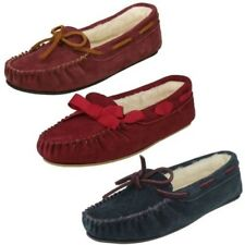 Ladies Clarks Suede Leather Moccasin Warm Lined Slippers - Wake Me