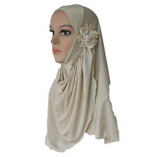 Muslim Hijab Islamic Scarf Woman Amira Cap Beautiful Drill on Head with Flowers