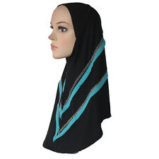 Muslim Hijab Islamic Scarf Woman Amira Cap Beauty Drill Simple Style Polyester
