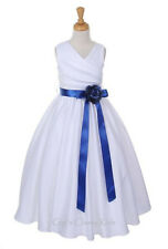 New Flower Girls White Satin Dress First Communion Wedding Easter Graduation