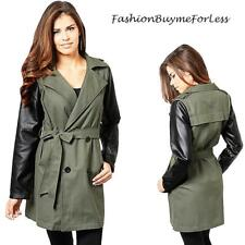 Haute BOHO Olive Faux Leather Double Breasted Jacket Safari Trench Coat S M L