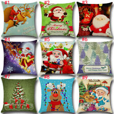 "Merry Christmas Bed Throw Sofa Decor Pillow Case Cushion Cover 17x17"" Xmas Gifts"