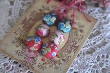 Fabric Rose Earrings Rockabilly Retro Rose Flower Fabric Covered Button Earrings