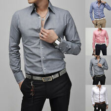 Mens Button Front Tops Solid Long Sleeve Slim Fit Casual Dress Business Shirts