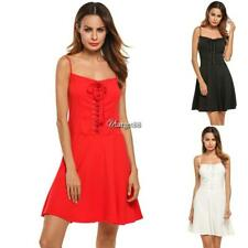 New Women Spaghetti Strap Lace Up Front Mini Sexy A Line Dress UTAR