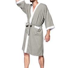 100% Cotton Men's Waffle Weave Kimono Robes Spa Bathrobe Wrap Terry Cloth Robe