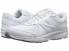 NEW Womens NEW BALANCE White Leather WW411v2 Athletic Lace Up Walking Shoes