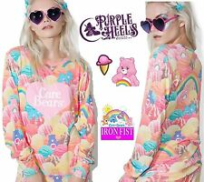 Iron Fist Care Bears Scoops A Lot Ice Cream Raglan Rainbow Sweater XS-XL