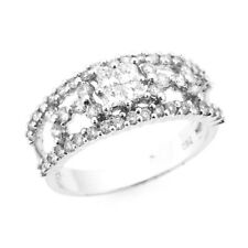 DIAMOND RIGHT HAND RING BAND INVISIBLE SET 18K WHITE GOLD 1CTW