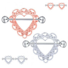 2pcs Heart Shaped Nipple Shield Nipple Ring Stainless Steel Barbell Piercing
