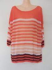 New Sussan Jumper Top Blouse T-Shirt Striped White Coral  Viscose NWT RRP $89.95