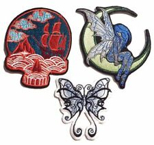 FANTASY IRON ON PATCH Pirate ship skull fairy moon butterfly wing embroidered 4I