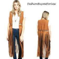 70'S BOHO Hippie TX Western Cowgirl Camel Faux Suede Fringed Cardigan Vest S M L