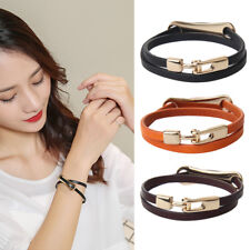 Women Men Leather Cool Cuff Double Wrap Bracelet Jewelry Punk Rock Wristband