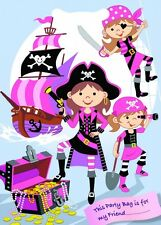 GIRLS PINK PIRATE BIRTHDAY PARTY GOODIE BAGS ~ PLASTIC CELLO LOOT TREAT GIFT BAG