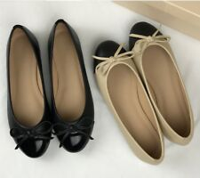 Colourblock Beige & Black With Bow Faux Leather Ballerina Flats Shoes Size 36-41