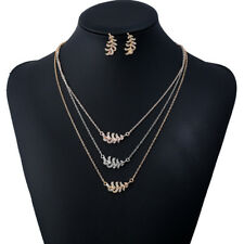 BL_ Multi-layer Metal Leaf Feather Pendant Necklace Earrings Jewelry Set Eyeful