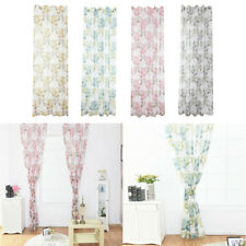 100x200cm Sheer Window Curtain Drapery Panel Floral Rod Pocket Curtain Panel