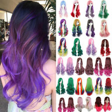 Fashion Ombre Hair Full Wig Long Hair Cosplay Wigs Curly Wave Straight Synthetic