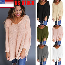 US Womens V-Neck Knitted Sweater Oversize T Shirt Loose Jumper Hem Tops Knitwear