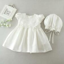 Adorable Newborn Baby Christening Dress Embroidery Lace Baptism Gown 3-24 Months