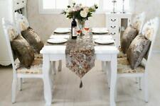 Cream Table Runner Cloth Flocked Cushion Placemat Set Chenille for Dinner Room