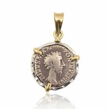 sterling silver & 18 karat gold pendant with authentic silver ancient roman coin