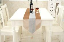 Cream Chenille Table Runner Placemat Set with Tasseled Edging for Dining Room