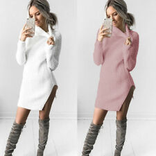 Jumper Split Dress Womens Sweater Dress Turtleneck Ladies Knitted Sweater