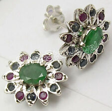 925 Solid Silver MULTISTONE Intricate Setting Stud Earrings ! Affordable Jewelry